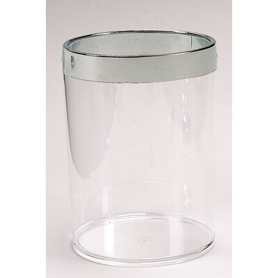 Clear Acrylic Waste Basket with Chrome Trim BA-ACR/WB