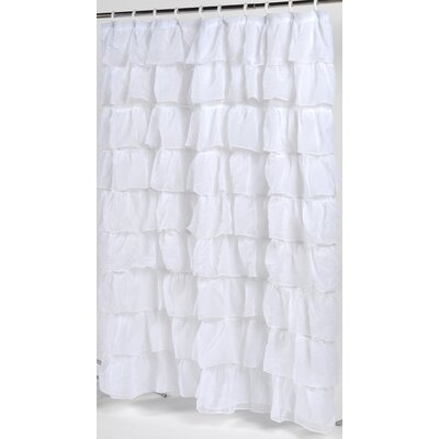 Carnation Home Fashions Carmen Crushed Voile Ruffled Tier Polyester Fabric Shower Curtain - Color: White at Sears.com