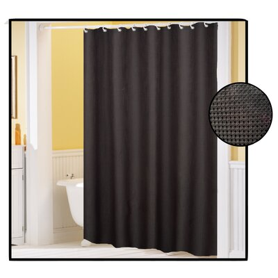 Buy Low Price Carnation Home Fashions Waffle Weave Fabric Shower Curtain Color Black Shower