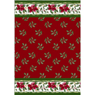 Christmas Floral Holiday Print Shower Curtain Set