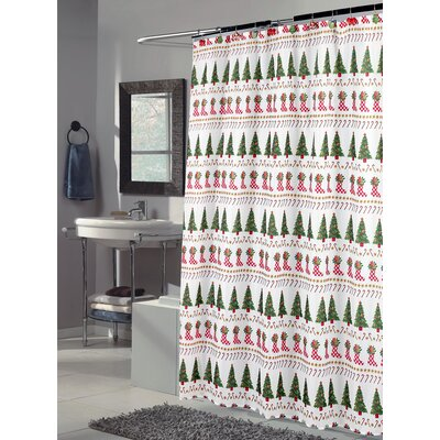 Christmas Time Polyester Fabric Holiday Shower Curtain
