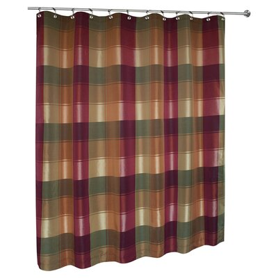 Burgundy Plaid Shower Curtain