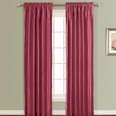 United Curtain Co. Anna Silk Rod Pocket Curtain Single Panel - Color: Burgundy, Size: 84