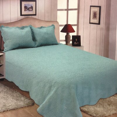 Quinn Reversible Quilt Set Color: Aqua, Size: King