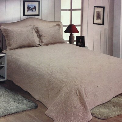 Quinn Reversible Quilt Set Color: Beige, Size: King