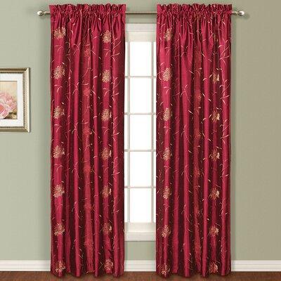 United Curtain Co. Avalon Silk Rod Pocket Curtain Single Panel - Color: Burgundy Size: 84