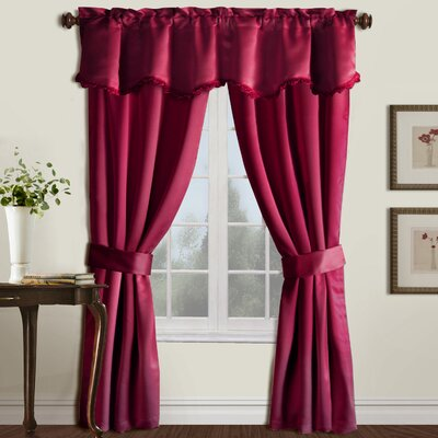 United Curtain Co. United Curtain Burlington Blackout Window Curtain Five Piece Panel Set 52 by 84-Inch Burgundy