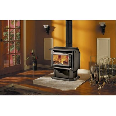 Osburn 1100 Wood Stove (2009) with Pedestal with Ash Pan 1000, 1100 (2009) + Door Overlay 1600 + Leg Kit with Ash Pan 1000