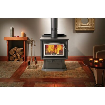 Osburn 1600 Wood Stove with Pedestal with Ash Pan + Leg Kit with Ash Pan + Door Overlay