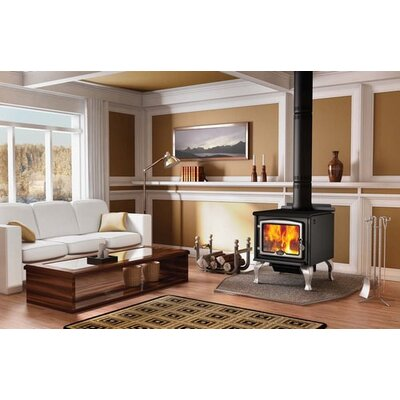 Osburn 2300 Wood Stove with Pedestal Kit with Ash Pan + Door Overlay + Leg Kit with Ash Pan