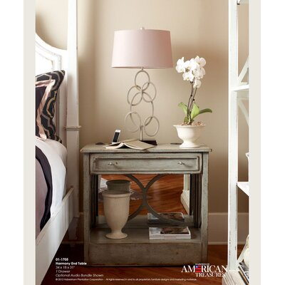 Harmony End Table with Storage Color: Connoisseur - Muslin/Silver