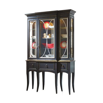 Classic Lighted Display Stand with Mirror Back Color: Connoisseur - Muslin, Accents: Champagne