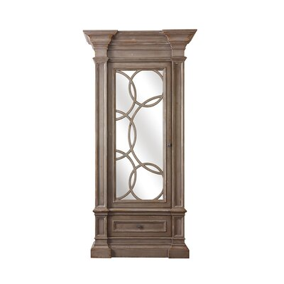 Nantucket Curio Cabinet with Mirrored Doors Color: Classic Studio - Warm Silver, Accent Color: Champagne