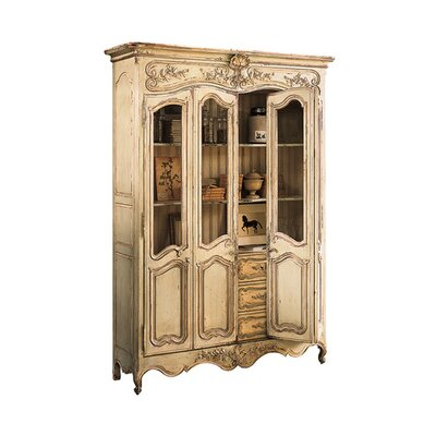 Louis XV China Cabinet with Glass Color: Connoisseur - Muslin, Accent Color: Champagne