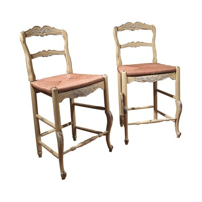 New Country French 25 Bar Stool with Rush Seat Color: Classic Studio - Graystone, Accents: Silver