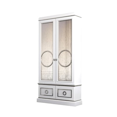 Astoria Double Door Curio Cabinet Color: Classic Studio - Empire, Lighting: With, Accents: Silver