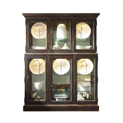 Bennington Lighted Curio Cabinet Color: Classic Studio - Graystone, Accents: Champagne