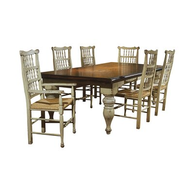 Harvest Extendable Dining Table Color: Connoisseur - Classic White, Accents: Gold