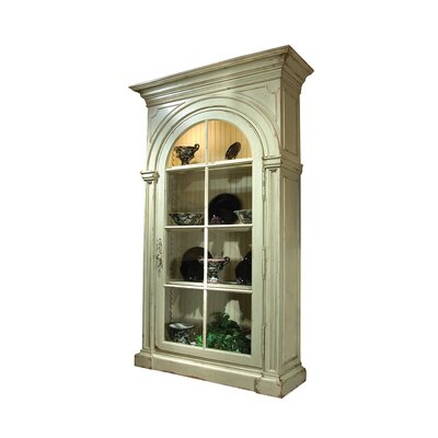 Adriana Lighted Curio Cabinet Color: Classic Studio - Graystone, Accents: Champagne
