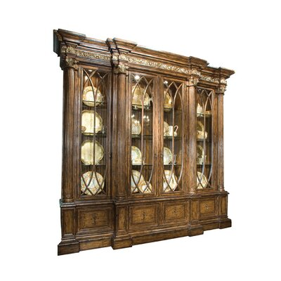 Finestra Breakfront Lighted China Cabinet Color: Connoisseur - Tricorn Black, Accents: Champagne