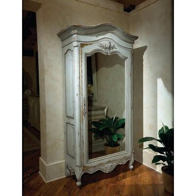 Leymaria Cupboard with Mirror Color: Connoisseur - Classic White, Accents: Silver
