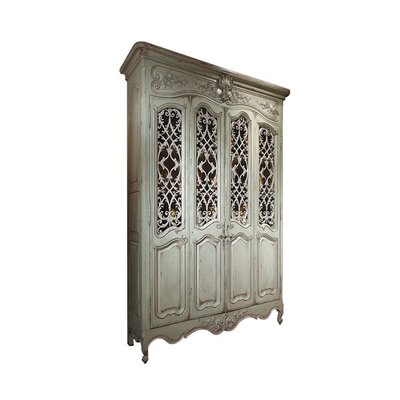 Louis XV China Cabinet with Metal Grilles Color: Connoisseur - Classic White, Accent Color: Silver