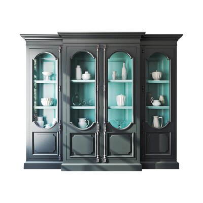 Tivoli Breakfront Curio Cabinet Color: Classic Studio/Antique Honey, Accent: Silver