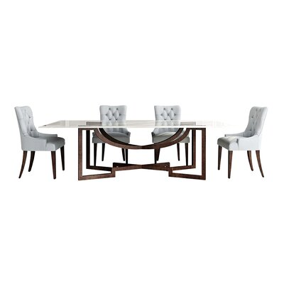 Metropolitan Glass Top Dining Table with Metal Base Color: Connoisseur/Classic White, Accent: Champagne
