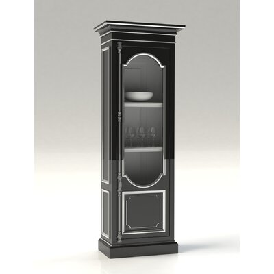 Tivoli 1 Door Curio Cabinet Color: Connoisseur/Tricorn Black, Accent Color: Champagne