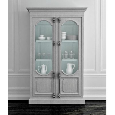 Tivoli 2 Door Curio Cabinet Color: Connoisseur/Tricorn Black, Accent: Champagne