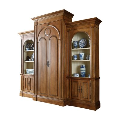 Recellie 118 Entertainment Center Color: Classic Studio/Antique Honey, Accent: Silver