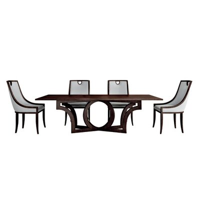 Milano Dining Table with Leaf Color: Connoisseur/Muslin, Accent: Silver