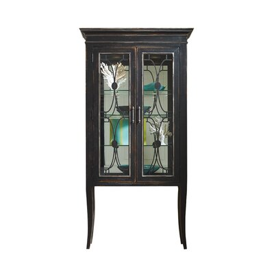 Atelier 2 Door Curio Cabinet Color: Connoisseur/Tricorn Black, Accent: Champagne