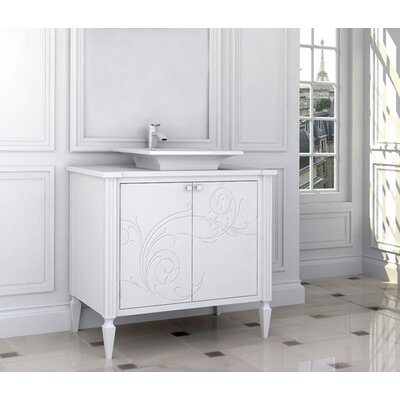 Le Chateau 38 Single Bathroom Vanity Set Finish: Connoisseur/Classic White, Accent: Silver