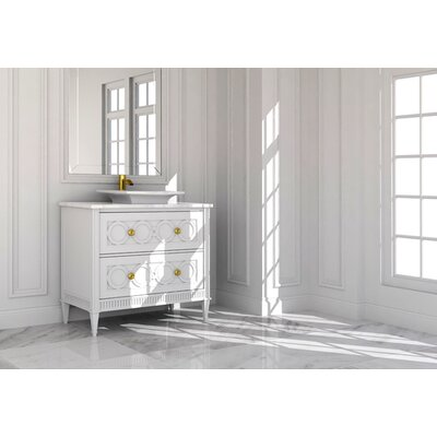 Tiffany Link 44 Single Bathroom Vanity Set Finish: Connoisseur/Tricorn Black, Accent Color: Gold