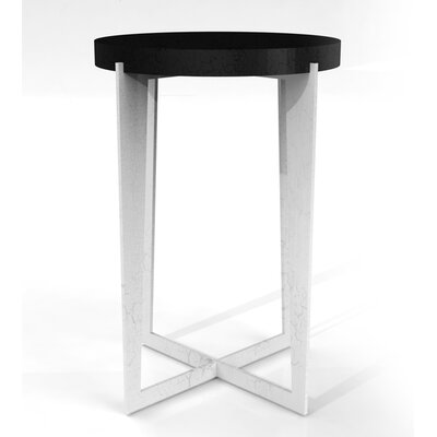 Cabo Round Tray Table Color: Connoisseur/Classic White, Accent: Silver