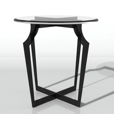 Palmer End Table Color: Connoisseur/Tricorn Black, Accent Color: Gold