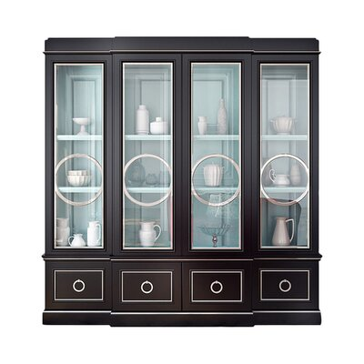 Astoria Breakfront China Cabinet with Circle Mullion Glass Doors Color: Connoisseur/Tricorn Black, Accent: Gold