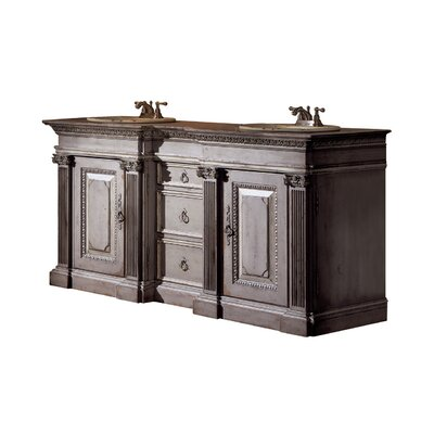 Classical 72 Double Bathroom Vanity Set Finish: Connoisseur/Classic White, Accent: Silver