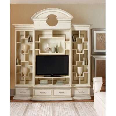 Nassau 105 Entertainment Center with Antique Mirror Back Color: Classic Studio/Graystone, Accent: Champagne