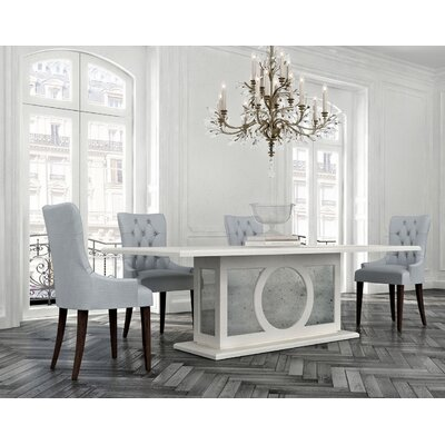 Chelsea Glass Top Dining Table Color: Classic Studio/Warm Silver, Accent: Champagne