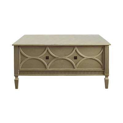 Crownpoint Coffee Table with Storage Color: Connoisseur/Classic White, Accent: Gold
