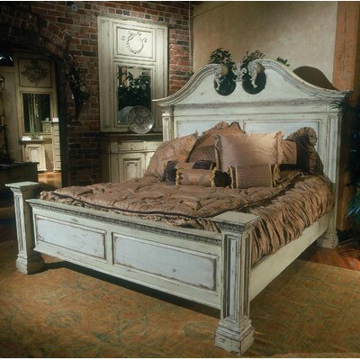 Central Park Panel Bed Color: Connoisseur/Muslin, Size: King, Accent: Silver