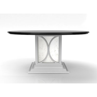 Chelsea Dining Table with Mirrored Pedestal Base Color: Classic Studio/Graystone, Accent: Gold