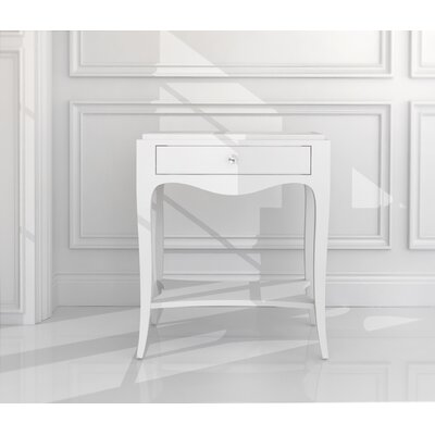 Louvre End Table with Storage Color: Connoisseur/Classic White, Accent: Silver