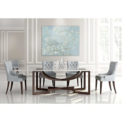 Metropolitan Wood Top Dining Table Color: Connoisseur/Classic White, Accent: Champagne