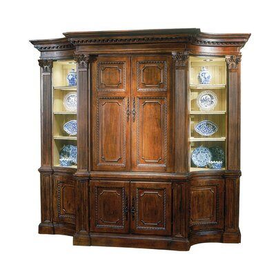 Palm Court 104 Entertainment Center with Base Color: Connoisseur/Tricorn Black, Accent: Champagne