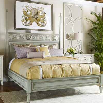 Tiffany Link Panel Bed Color: Connoisseur/Muslin, Size: King, Accent Color: Silver
