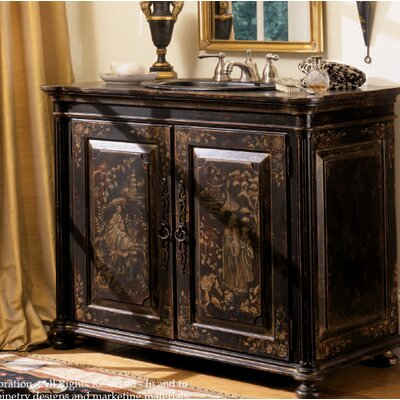 Chinoiserie 41 Single Bathroom Vanity Set Finish: Connoisseur/Tricorn Black, Accent: Gold