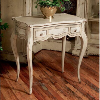 Madison End Table with Storage Color: Connoisseur/Muslin, Accent: Silver